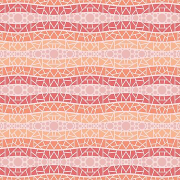 Mosaic Wavy Stripes in Peach and Pinks by MelFischer