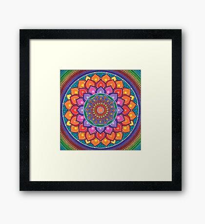 Lotus Rainbow Mandala Impression encadrée