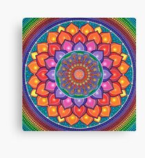 Lotus Rainbow Mandala Canvas Print