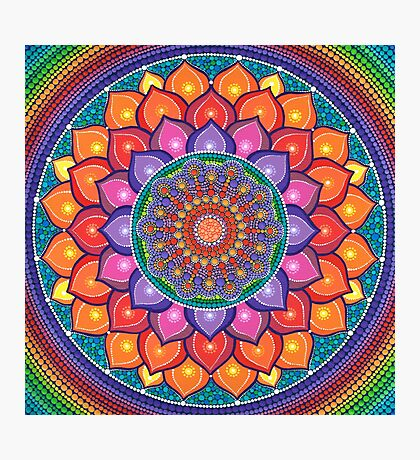 Lotus Rainbow Mandala Photographic Print