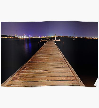 Pelican Point Jetty At Night  Poster