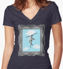 DANCING HIGH Women's Fitted V-Neck T-Shirt