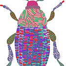Color Scarabs - animal, bugs, insect, beetle, colorful, modern, vintage, mod, kids, home decor, exotic, pretty, pop, illustration, jungle, wild by Catalina Villegas
