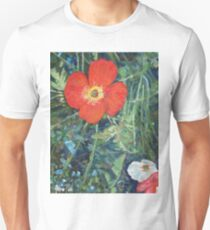 Garden with Bright Red and White Poppies Unisex T-Shirt
