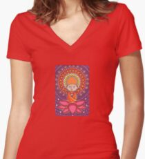 Jizo Meditating upon a Ruby Lotus Women's Fitted V-Neck T-Shirt