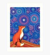 Star Gazing Fox Art Print