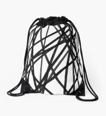 Urban Minimalist Industrial Monochrome Painted Mesh, black and white.  Drawstring Bag