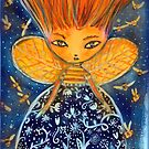Bee Queen, bee, beehive, bees, blue night, wings  by Edgot Emily Dimov-Gottshall