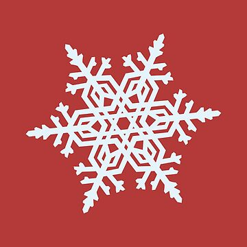 Christmas Winter Snowflake White On Red by broadmeadow