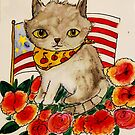 Cats, cat, patriotic, flowers, summer, festive, fun kitty, 4th of July by Edgot Emily Dimov-Gottshall