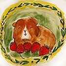 Guinea pig strawberries, summer, piggy, cavy by Edgot Emily Dimov-Gottshall