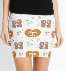 Cute loving squirrels and bears Mini Skirt