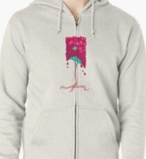 Square Tree Pattern Zipped Hoodie