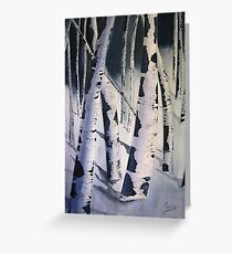Aspen Trees in Winter- Watercolor Painting Greeting Card