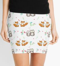 Cute loving foxes and owls Mini Skirt