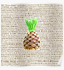 Psych Burton Guster Nicknames - Television Show Pineapple Room Decorative TV Pop Culture Humor Lime Neon Brown Poster