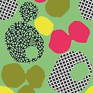 AFTER HERON - Zennor St Ives Cornwall, abstract repeat pattern, green, yellow, red, blue by mapmapart