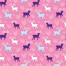 Magical deer pink holiday by oksancia