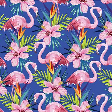 Colorful Tropical Pattern - Flamingo, Bird of Paradise, Hibiscus by pugmom4