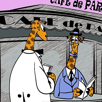 Giraffe in Cafe de Paris by cartoonblog