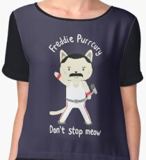 Don't Stop Meow!  Cute Freddie Cat Chiffon Top