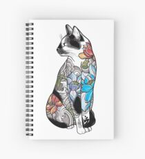 Cat in Lotus Tattoo Spiral Notebook