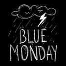 Blue Monday Thunder Cloud Distressed Drawing Design  by PerttyShirty