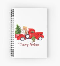 Vintage Red Truck with Christmas Tree and Presents Spiral Notebook