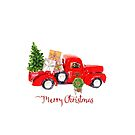 Vintage Red Truck with Christmas Tree and Presents by Ann Drake