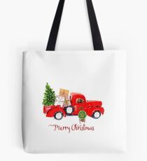 Vintage Red Truck with Christmas Tree and Presents Tote Bag