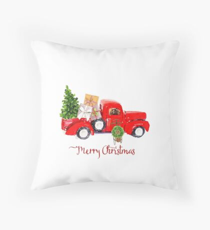 Vintage Red Truck with Christmas Tree and Presents Throw Pillow