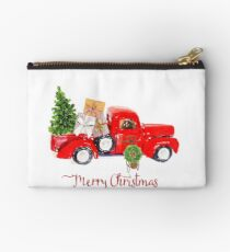 Vintage Red Truck with Christmas Tree and Presents Studio Pouch