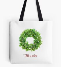 All is Calm Christmas Wreath Tote Bag
