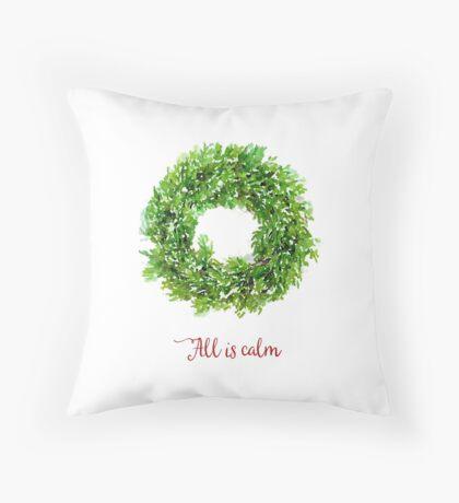All is Calm Christmas Wreath Throw Pillow
