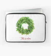 All is Calm Christmas Wreath Laptop Sleeve