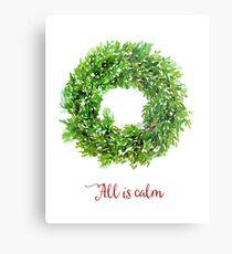 All is Calm Christmas Wreath Metal Print