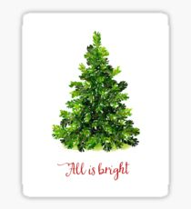 All is Bright Christmas Evergreen Tree Sticker