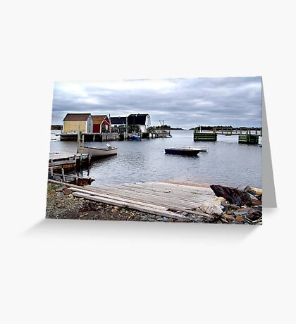 Fishing Sheds,Blue Rocks Greeting Card
