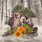 Floral Forest Owls by Donika Nikova