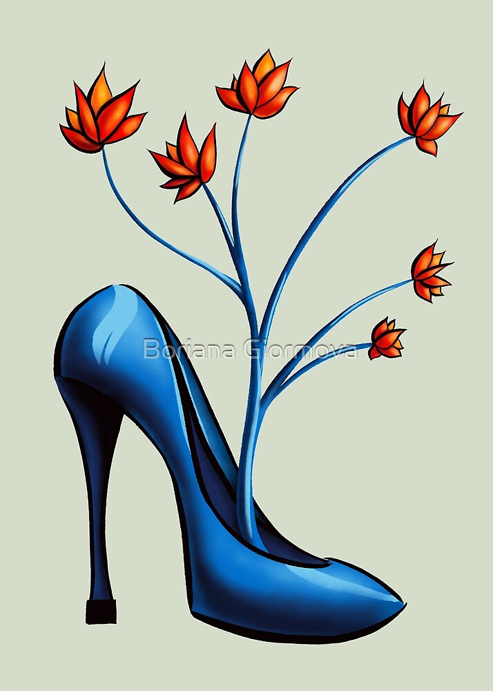 High Heel Shoe And Flower Bouquet by Boriana Giormova