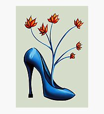 High Heel Shoe And Flower Bouquet Photographic Print