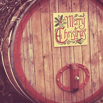 Merry Christmas Wine Barrel by angelandspot