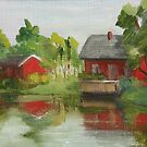 Red House on the Lake by Inna Lazarev