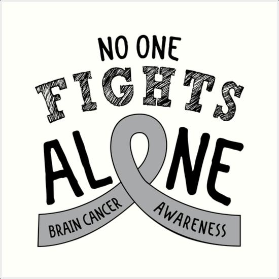c1469d6c9ed 'Brain Cancer Awareness Ribbon' Art Print by graphicloveshop