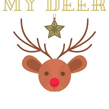 Christmas Deer Head with Antler and Star My Deer design for kids by chardo55