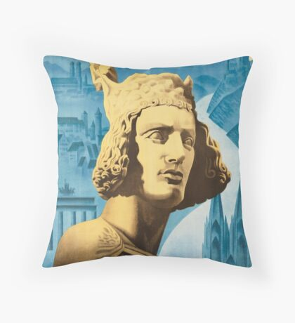 Vintage Come to Germany Travel Vacation Holiday Advertisement Art Posters Throw Pillow