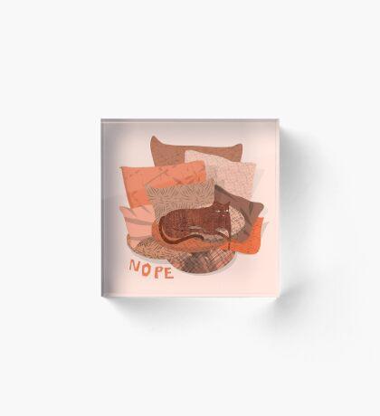 Nope - Lazy Red Cat Acrylic Block