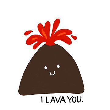'I Lava You' linda ilustración de volcán de bloemsgallery
