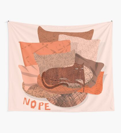 Nope - Lazy Red Cat Wall Tapestry