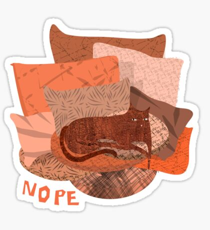 Nope - Lazy Red Cat Sticker